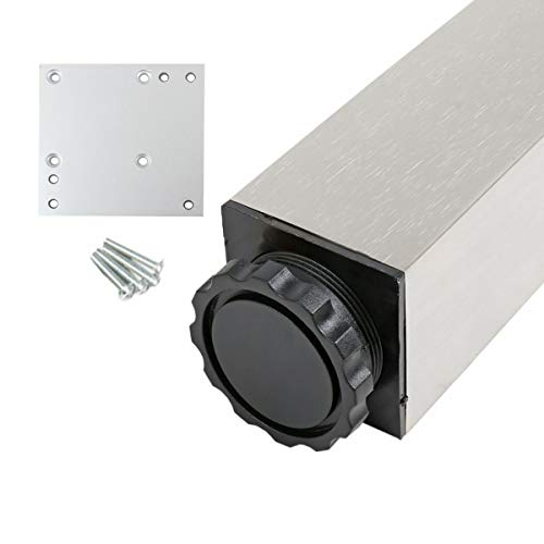 Möbelfuss Eckig 60 x 60mm Edelstahl Optik Höhe 710mm Tischbein aus Aluminium