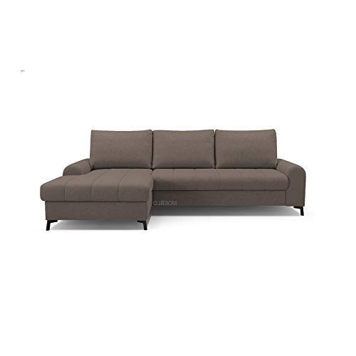 mb-moebel Ecksofa mit Schlaffunktion Eckcouch mit Bettkasten Sofa Couch L-Form Polsterecke Delice (Braun, Ecksofa Links)