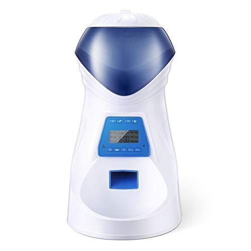 HoneyGuaridan Comedero Electrónico Automático con Recordatorio por Voz y Temporizador Programable, 6-Comidas para Perros (Mediano y Pequeño) y Gatos