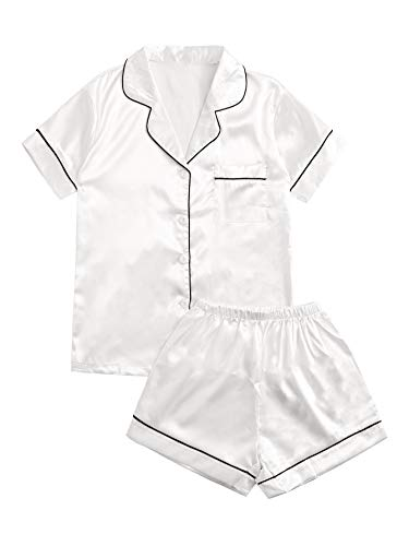 SweatyRocks Women's Short Sleeve Sleepwear Button Down Satin 2 Piece Pajama Set White Large