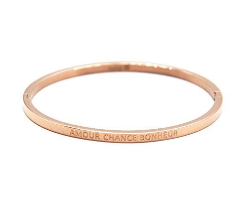 """Oh My Shop BC1796F-Bracciale a cerchio in fine acciaio oro rosa con messaggio """"Amour Chance Bonheur"""""""