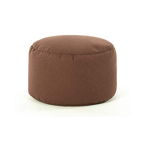 WXYNT Upholstered Round Ottoman Pouf,Comfortable Breathable Footstool,Lazy Sofa,Breathable Cotton Linen Fabric For Living Room,Bedroom-Coffee. 35x35x22cm(14x14x9inch)