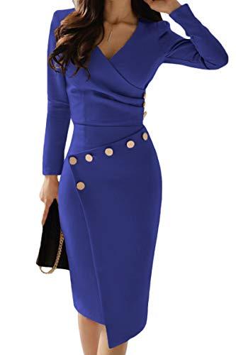 Aleumdr Vestito Donna con Maniche Lunghe Vestiti Eleganti Donna Design Pulsante Abito Donna Invernale Abito da Cerimonia Donna Invernale