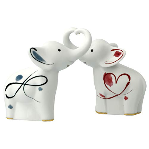 Elephanten Salz + Pfeffer Liebe & Stärke Porzellan 11 cm