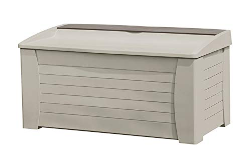 Suncast 127-Gallon Large Deck Box - Lightweight Resin Indoor/Outdoor Storage Container and...