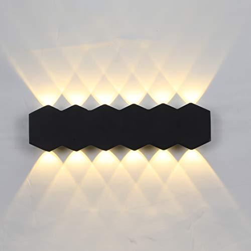ENCOFT LED 12W Applique da Parete Interno Moderno Lampada da Parete Muro Rettangolare Luce Su e Giù Bianco Caldo 3000K 1200LM Notturna in Alluminio IP54 per Soggiorno Scale, 31cm Nero