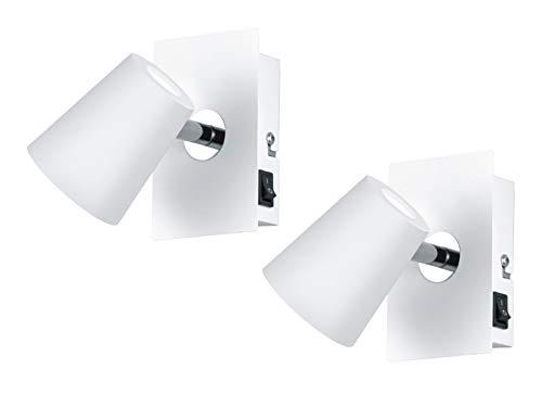 Moderner 1 flammiger LED Wandstrahler im 2er Set in Weiß matt Spot dreh-und schwenkbar mit Schalter - flexible Wandbeleuchtung