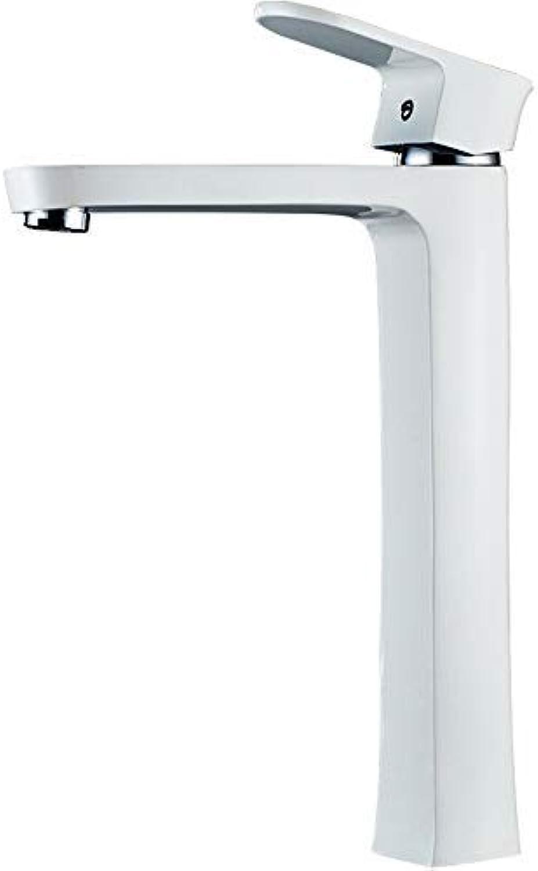 Marcu HOME Taps Bathroom Copper Main Body Hot And Cold Wash Basin Basin Faucet Above Counter Basin Single Hole Bathroom Paint Faucet Simple White Paint Lavatory Faucet????High