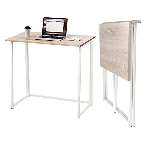 Dripex Mesa Escritorio Plegable, Mesa Ordenador, Compacto sin ensamblaje, Mesa de Estudio Plegable para Casa Oficina, Escritorio para computadora Manualidades, Color Madera, 80 x 45 x 74 cm