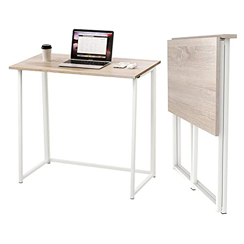 Dripex Mesa Escritorio Plegable, Mesa Ordenador, Compacto sin ensamblaje, Mesa de Estudio Plegable para Casa Oficina,...