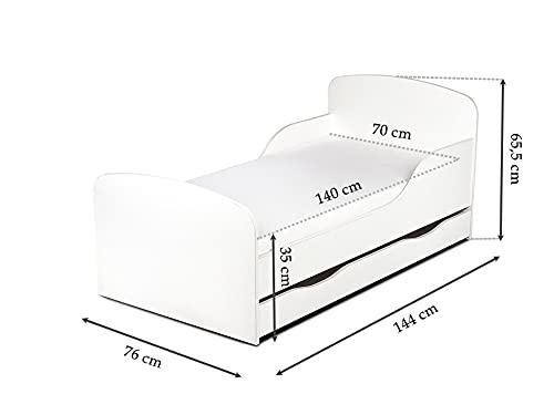 Leomark KINDERBETT 140×70 mit Schublade Funktionsbett Einzelbett mit Matratze Motiv: Pony Sehr Einfache Montage, Bettkasten - 5