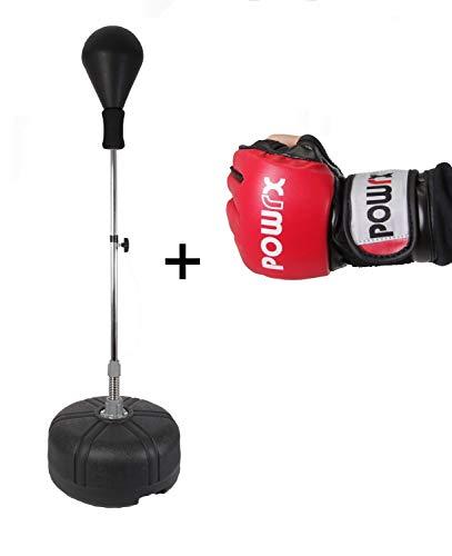 POWRX Set Punchingball + MMA Freefight Handschuhe I Stand Trainer höhenverstellbar 110-160 cm I Trainingshandschuhe Competition Rot (L)