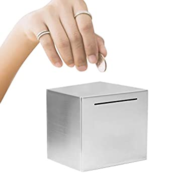 CALIDAKA Bigger Safe Piggy Bank Made of Stainless Steel Safe Box Money Savings Bank for Adult Kids,Can Only Save The Piggy Bank That Cannot Be Taken Out  4.7x4.7inch