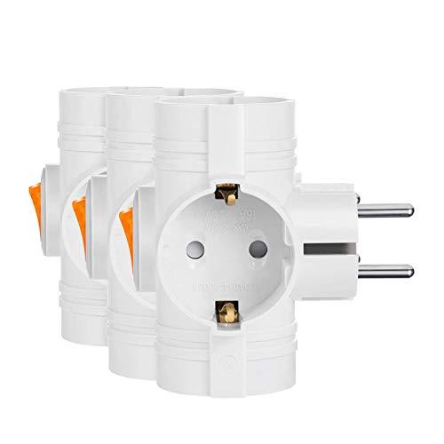 Mehrfachsteckdosen 3 Steckdosen Kabellose Steckdose mit Schalter für Auslöse- und Speicherplatz 3500W 3 Stück