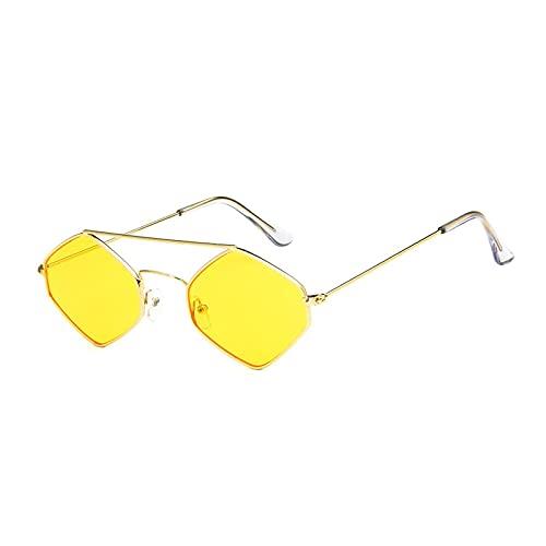 Gafas De Sol Nuevas Gafas De Sol con Forma De Ojo De Gato para Mujer, Lentes Antirreflectantes Poligonales, Gafas De Sol para Hombre, Gafas De Sol Vintage, Montura Metálica, Oro-Amarillo