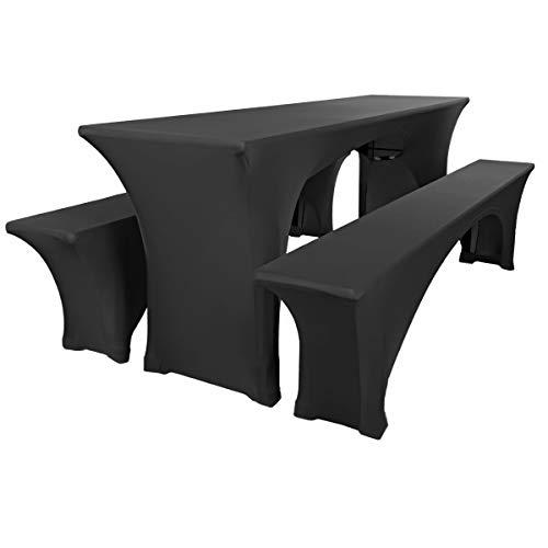 Gräfenstayn® Leopold Stretch - Biertischhussen-Set 3 TLG für Bierzeltgarnitur - 50cm oder 70cm Tischbreite - mit Öko-Tex Siegel Standard 100 :'Geprüftes Vertrauen 31188 (Schwarz 50x220cm)