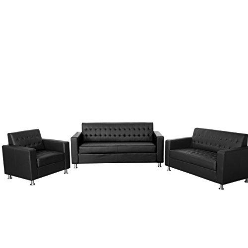 3-2-1 Sofagarnitur Kunda, Couch Loungesofa Kunstleder, Metall-Füße ~ schwarz