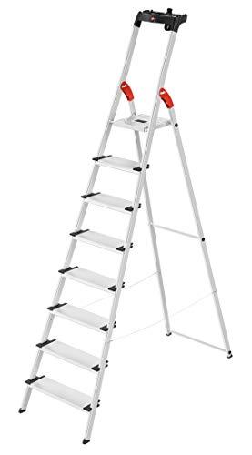 Hailo L80 ComfortLine, Alu-Sicherheits-Stehleiter, 8 XXL-Stufen, belastbar bis 150 kg, silber, Made in Germany, 8040-807