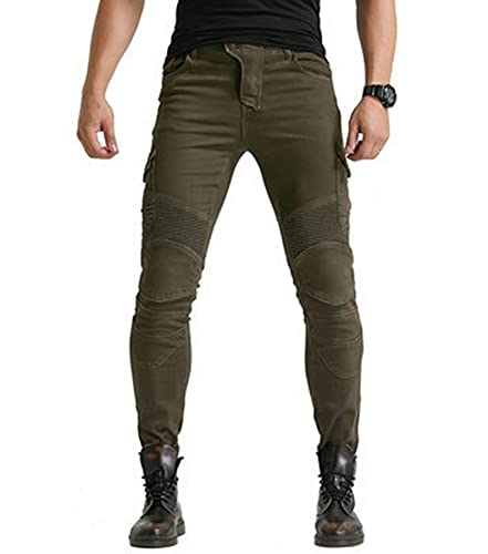 GFENG Men Engineered Protective Jeans Motorcycle Biker Trousers Reinforced Protection Lining, Knee and Hip Armours Protector