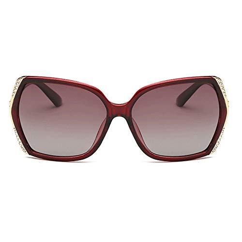 Bradoner UV400 Marrón Púrpura Damas Polarizadas Gafas Cuadradas Caja Grande Conducción Gafas De Sol De Conducción Gafas De Sol Elegantes (Color : Brown)