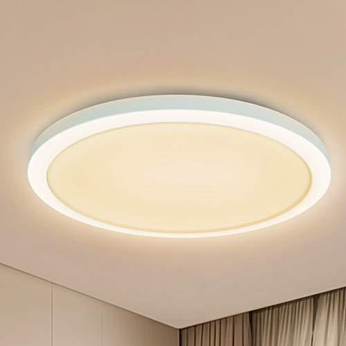 BENMA LED Deckenlampe Rund Flach, 24W Deckenleuchte Ultra Dünn 1,2cm Deckenbeleuchtung, 3000K Innenbeleuchtung Ø23 cm Panel Beleuchtung Deckenleuchten für Bad Küche Balkon Korridor Büro (Warmweiß)