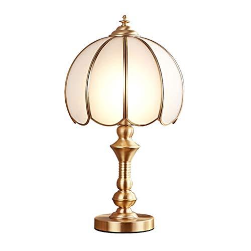 Lámpara de Mesa Lámpara de mesita de noche de cobre Lámpara de escritorio de Dormitorio Retro Dorado Lámpara de vidrio en forma de pétalo Lámpara de mesa simple Lámpara de estar Sala de estar Comedor