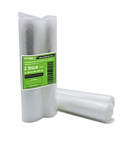 Vakuumbeutel für Lebensmittel 2 Rollen 28x600 cm geprägt goffriert VacuNo.1 - Folienrolle geeignet für Caso, Lava, Allpax, Valko, Rommelsbacher