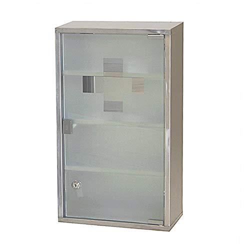 HS-Lighting Medizinschrank Arzneischrank Edelstahl Erste Hilfe Schrank abschließbar, Glas Tür mit Tip-on Automatik (Silber-4 Fächer)