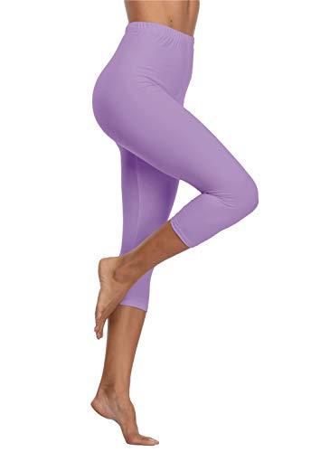 Kotii Women's Soft Capri Leggings 3/4 Cropped Leggings High Waisted Capris Tights,Light Purple