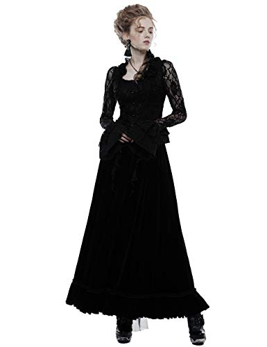 Punk Rave Gothic Frauen Gorgeous Falbala Kragen Transparent Spitze Ärmel Frauen Hemd Halloween Party Blusen XL