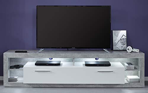trendteam 182685235 Rock Wohnen, TV-Unterteil groß, Holzdekor, Weiß, 44 x 200 x 48 cm