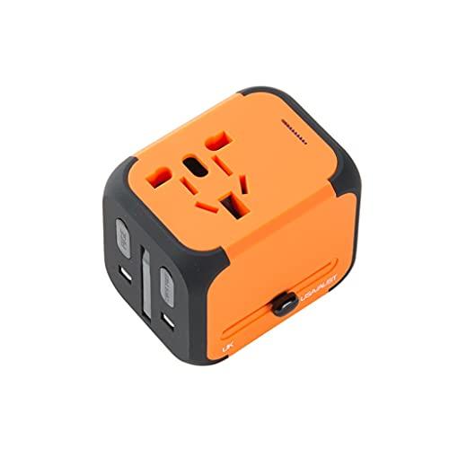 Adattatore di viaggio universale Adattatore internazionale per viaggi, adattatore da viaggio con 2 caricabatterie USB, tipo-C, Outlet AC in tutto il mondo per US AU Asia 200+ Adattatore da viaggio int