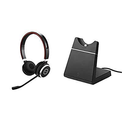 Jabra Evolve 65 Wireless Stereo On-Ear Headset – Unified Communications Optimised Headphones With Long-Lasting Battery – USB Bluetooth Adapter – Black & 14207-39 Evolve 65 Charging Stand from