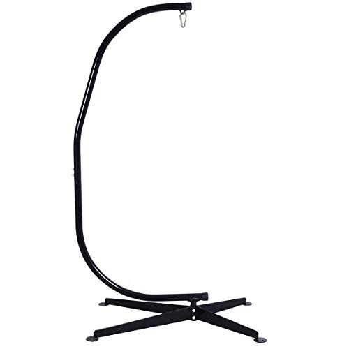 Giantex Hammock Chair Stand, Hanging Chair Stand, C Stand for Hanging Chair, Heavy Duty Steel Egg Chair Stand, Hugglepod Stand for Hammock Air Porch Swing Chair Outdoor Indoor