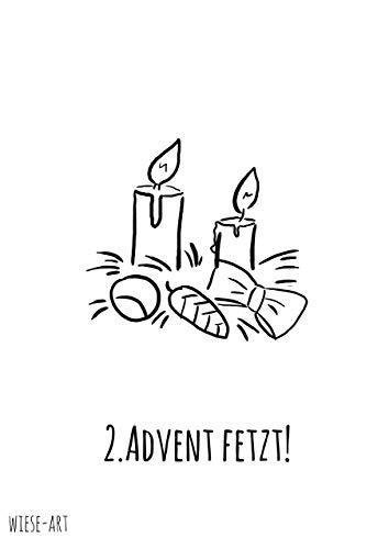 wiese-art Postkarte 2.Advent fetzt, weihnachten, kerzen, festlich
