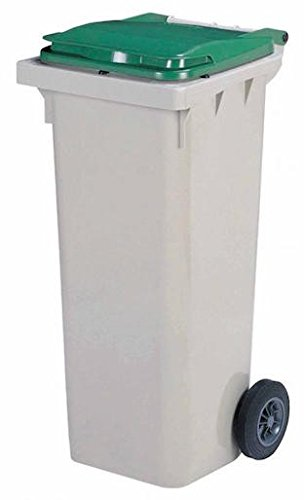 Rossignol Korok grijze vuilnisbak met 2 wielen voldoet aan de norm EN-840 1 tot 6. 340L grijs/groen