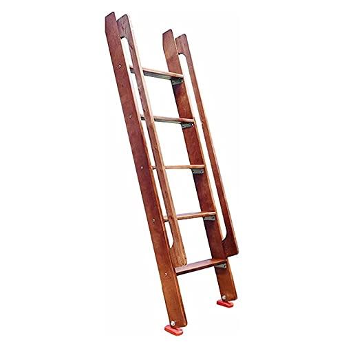 LFF-Trittleiter Escalera de Mano Escalera de Paso Marrón Escalera de Litera de Madera, Escalones Resistentes de 150cm de Longitud con Almohadillas Antideslizantes y Accesorios de Montaje