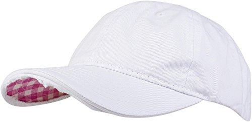 styleBREAKER Vintage Baseball Cap mit Karierter und gefütterter Unterseite, verstellbar, Unisex 04023048, Farbe:Weiß/Pink-Weiß kariert
