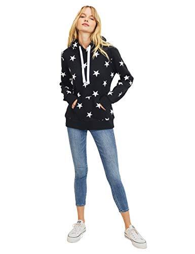esstive Women's Ultra Soft Fleece Midweight Casual Multi-Star Pullover Hoodie Sweatshirt