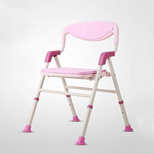 Xi Man Shop Inklapbare badkamer douchestoel met rugleuning Verstelbare anti-slip kruk voor zwangere vrouwen en de oude roze aluminiumlegering PE douchestoel met leuningen Bearing 200kg