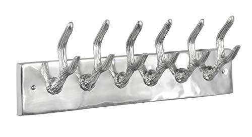 MichaelNoll Garderobe Wandgarderobe Geweih, 6 Haken, Aluminium, Silber, 49 cm