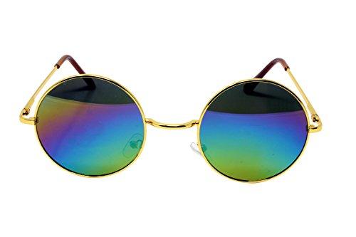 Schöne Unisex Aktuelle Design-Hippie-Stil Brillen Runde Sonnenbrillen Anti-Reflektierende Linse (Regenbogen Spiegel mit Gold Gestell)