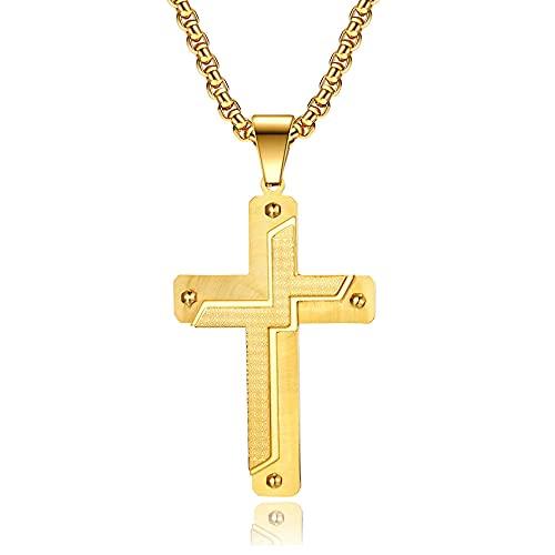 maozuzyy Collar Colgante Joyería Moda Ocio Acero Inoxidable Artículos Cruzados para Hombres Grandes Colgante De Cruz De Oro-Oro Completo