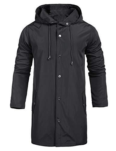 UUANG Mens Jacket Lightweight Windproof Raincoat Mens Waterproof with Hood Long for Any Outdoor Activities Black