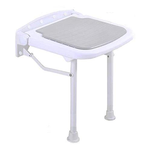 QLIGHA Klappbarer Duschsitz mit Stützbeinen, höhenverstellbarer Duschhocker an der Wand für ältere Menschen, Rutschfester Badesessel mit 250 kg