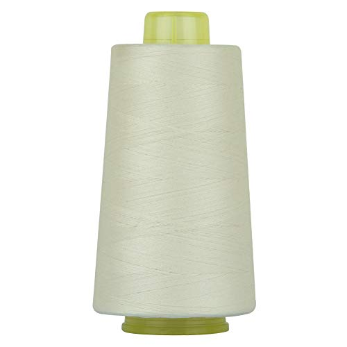 RCL 100% Polyester Sewing Thread Spools - 3000 Yards/1 Spool of Yarn, 40/2 All-Purpose Connecting Threads for Sewing Machine and Hand Repair Works (Cream)