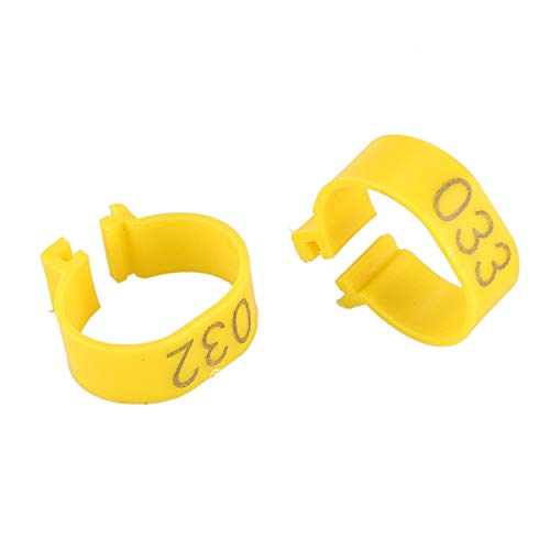 Andifany 100Pcs 001-100 Numbered Leg Bands 18mm Rings for Clip On Poultry Hens Chicken