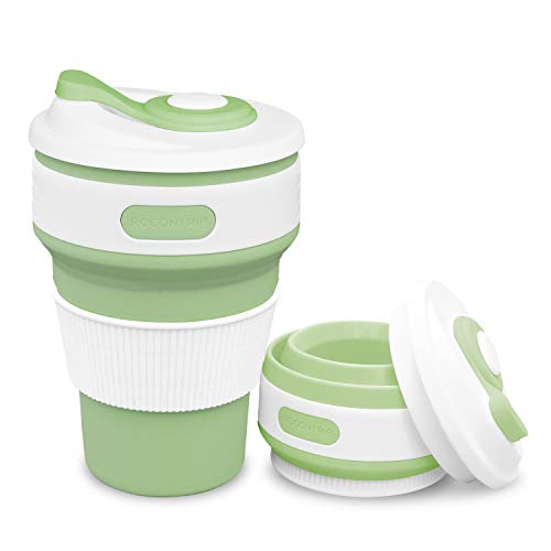 ROCONTRIP Silicone Collapsible Cup Convenient Travel Coffee Mug Lightweight Food Grade Silicone for Camping Hiking Outdoor (Green)
