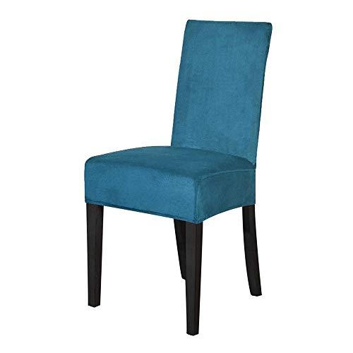 WMPRTT Velvet Dining Chair Cover, Spandex Elastic Stuhlbezug, Esszimmer Stuhl Slipcovers, Seat Fall für Hochzeitshotel Bankett (6pcs,Teal Blue)