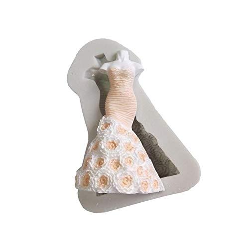 JYSLI Santé Mode de mariée Princesse 3D Robe Moule en Silicone Fondant décoration de gâteau Outil ustensiles de Cuisson Conception (Color : White)